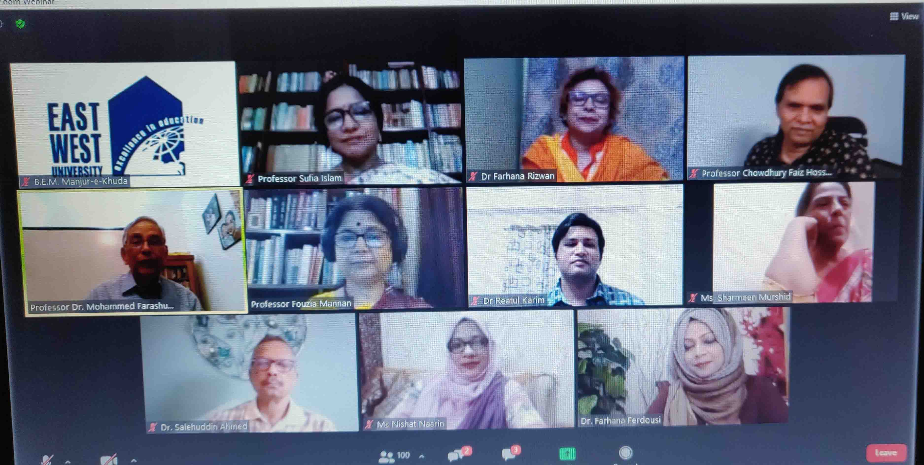 Webinar on Educational Institution and Violence against Women at East West University
