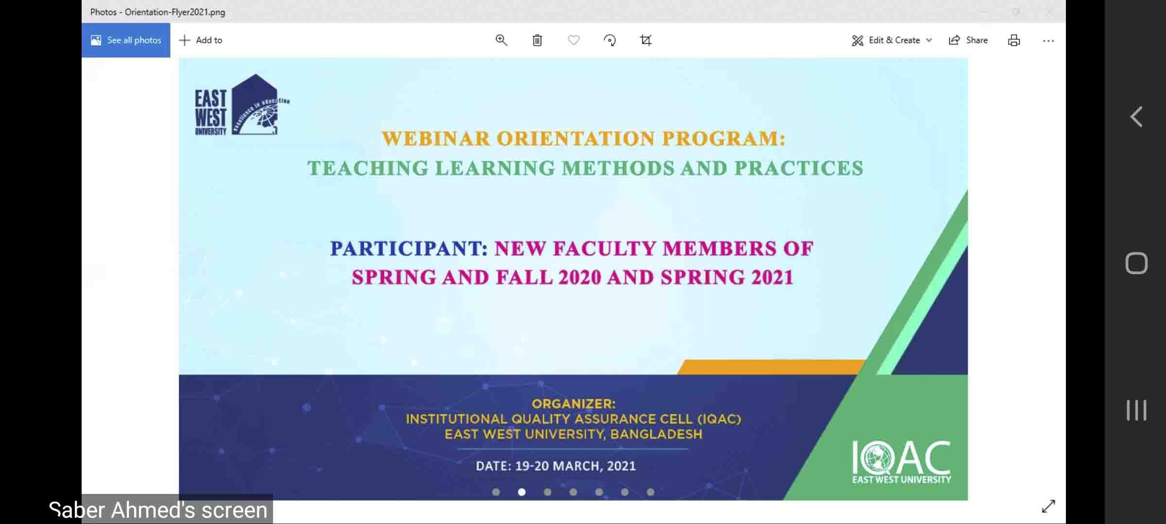 EWU-IQAC Arranges an Orientation Program for New F...