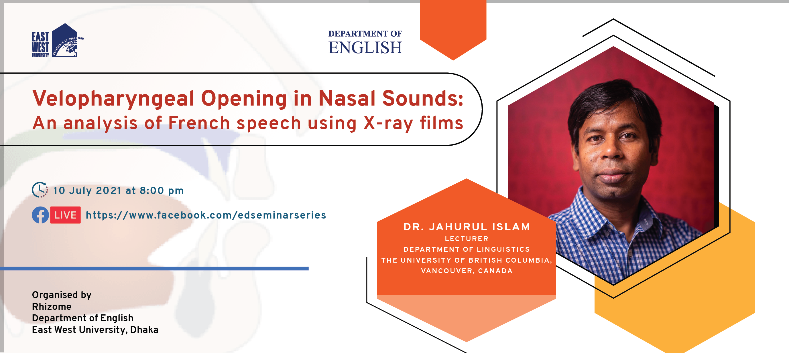 """Dr. Jahurul Islam presented his paper on """"Velopharyngeal Opening in Nasal Sounds: An analysis of Fre..."""